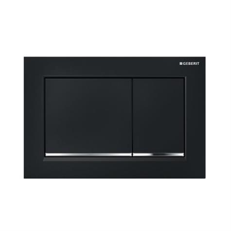 Abdeckplatte OMEGA30 Kunststoff, Zweimengenbetäti- - schwarz - verchromt