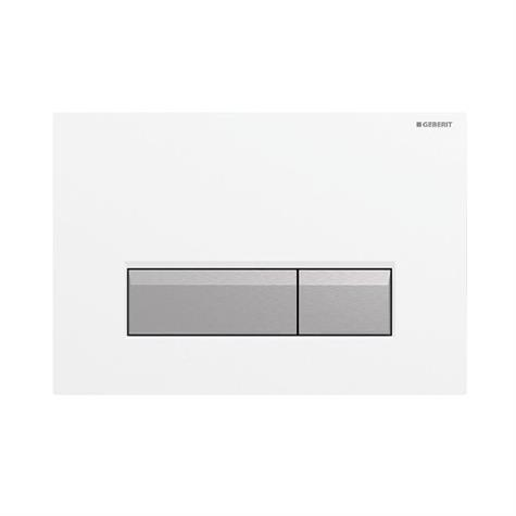 Abdeckplatte SIGMA40 Kunststoff - weiss - Aluminium gebürstet