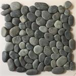 Flusskieselmosaik schwarz rund 30x30 cm