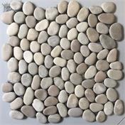 Flusskieselmosaik weiss-beige-grau rund 30x30 cm