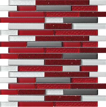 Wandplatte MALLA Mosaik Quartz red